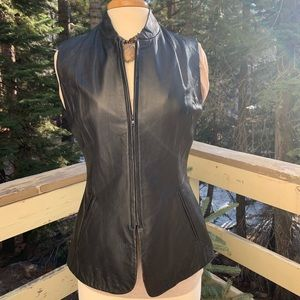 INC Fitted Leather Vest